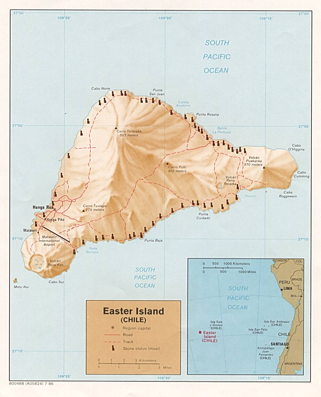 Map of Easter Island Rapa Nui